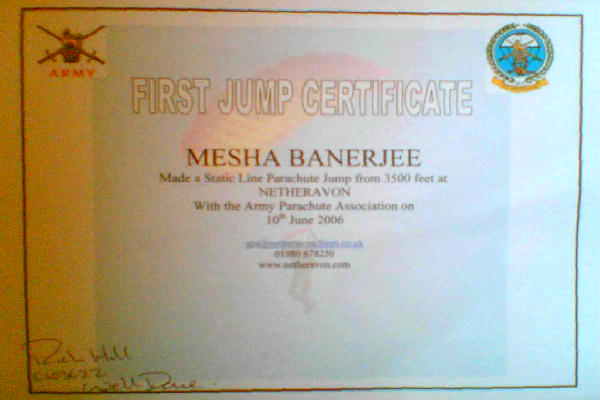 (Photograph of Mesha's certificate)